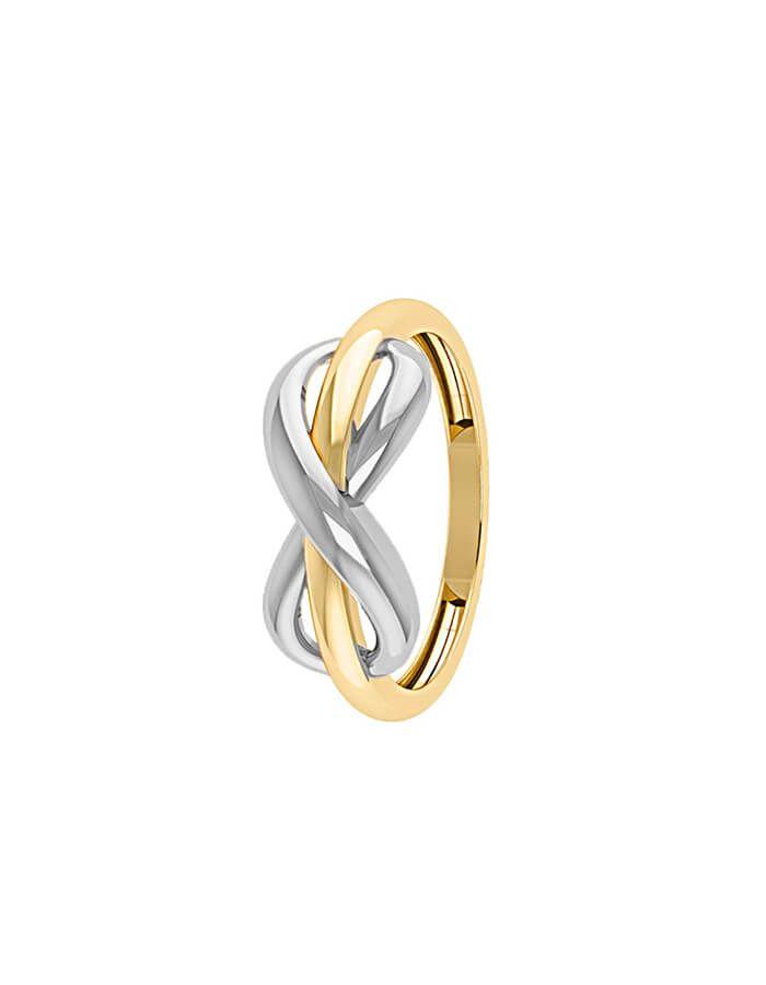 خاتم رابط الحب الدائم، من الذهب الأصفر والأبيض عيار 18 قيراط