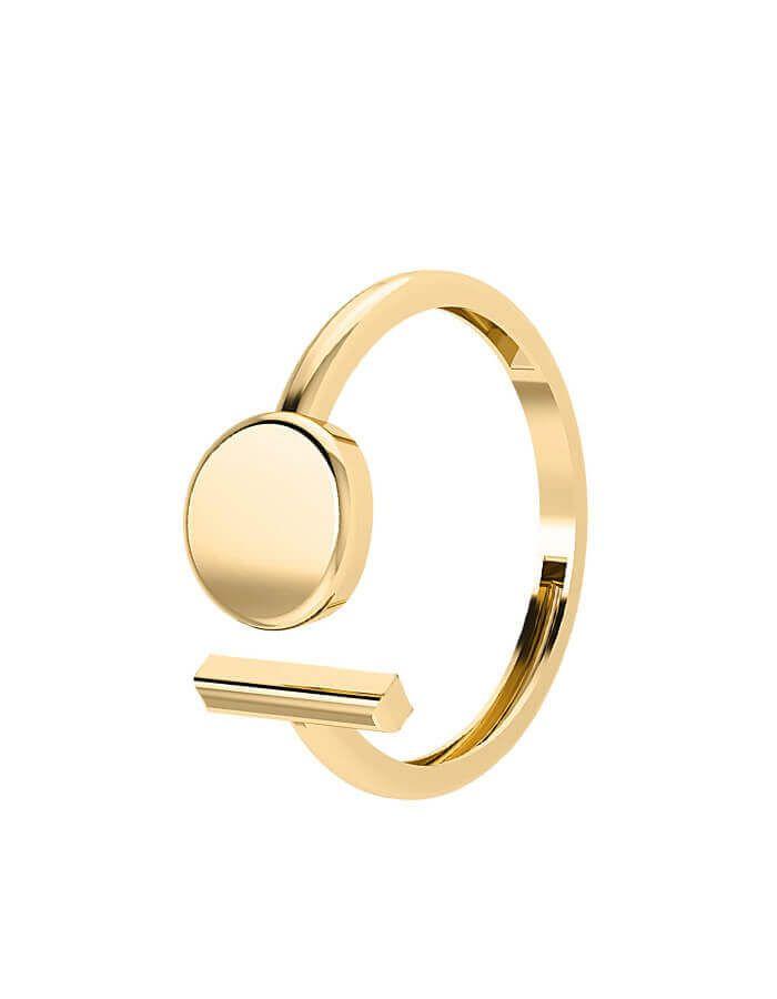 خاتم جيومتريك بالتصميم المفتوح من الذهب الأصفر عيار 18 قيراط