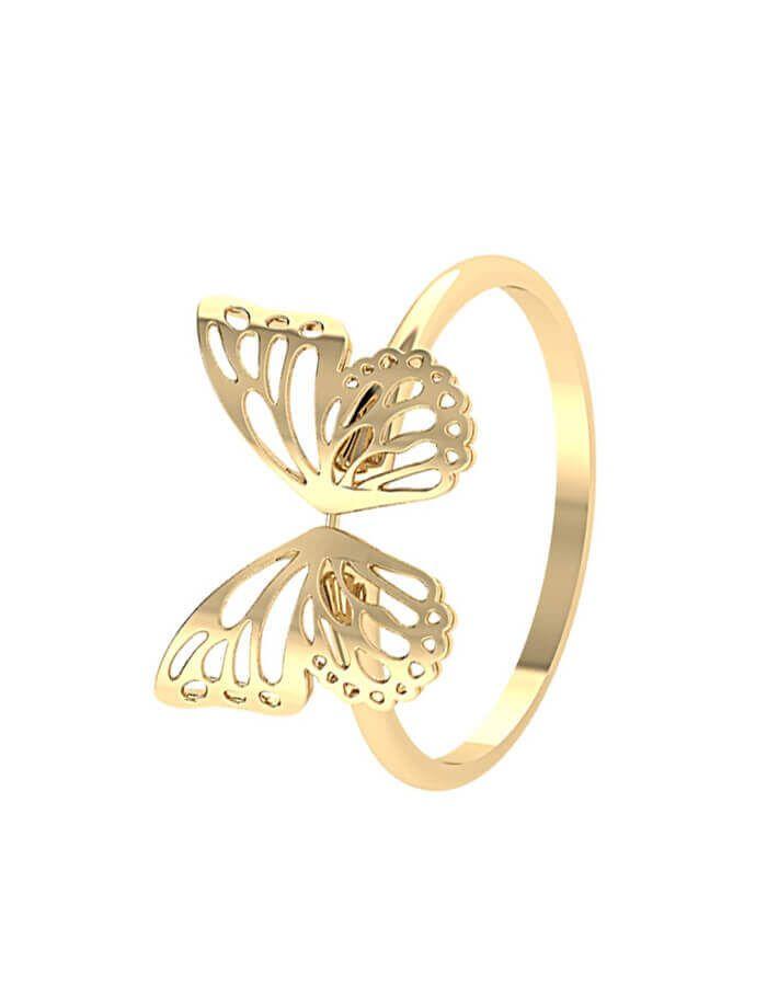 خاتم الفراشة الكبيرة، من الذهب الأصفر عيار 18 قيراط