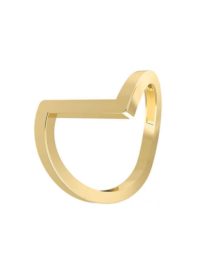 خاتم خطوط جريئة، من الذهب الأصفر عيار 18 قيراط