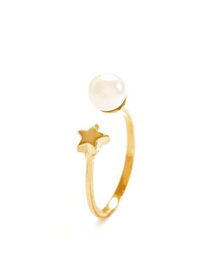 خاتم النجمة واللؤلؤة من الذهب الأصفر عيار 18 قيراط واللؤلؤ الأبيض
