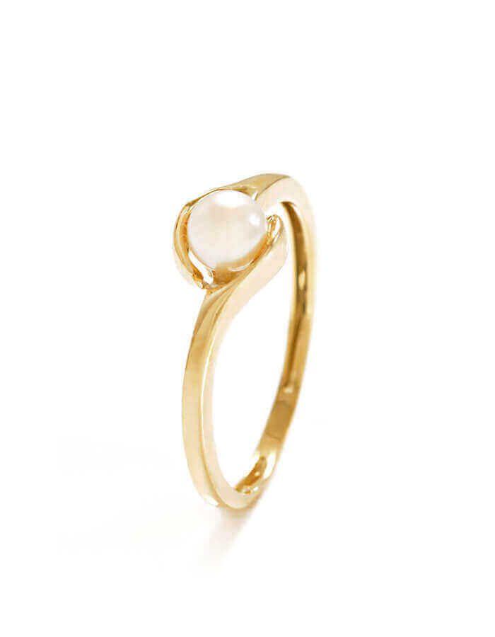 خاتم اللؤلؤه الثمينة، من الذهب الأصفر عيار 18 قيراط واللؤلؤ الأبيض