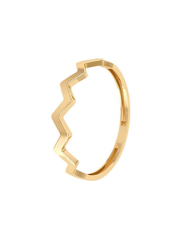 الخاتم المموج من الذهب الأصفر عيار 18 قيراط