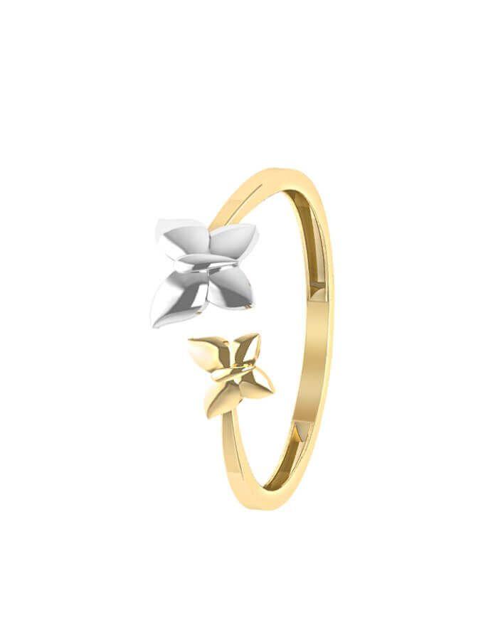 خاتم الفراشتين من الذهب الأصفر عيار 18 قيراط