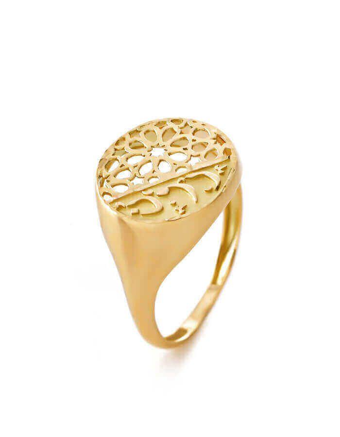 خاتم الهندسة الأنيق، من الذهب الأصفر والوردي عيار 18 قيراط
