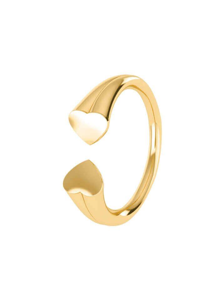 خاتم القلبين المتواعدين، من الذهب الأصفر عيار 18 قيراط