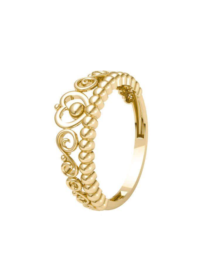 خاتم التاج، من الذهب الأصفر عيار 18 قيراط