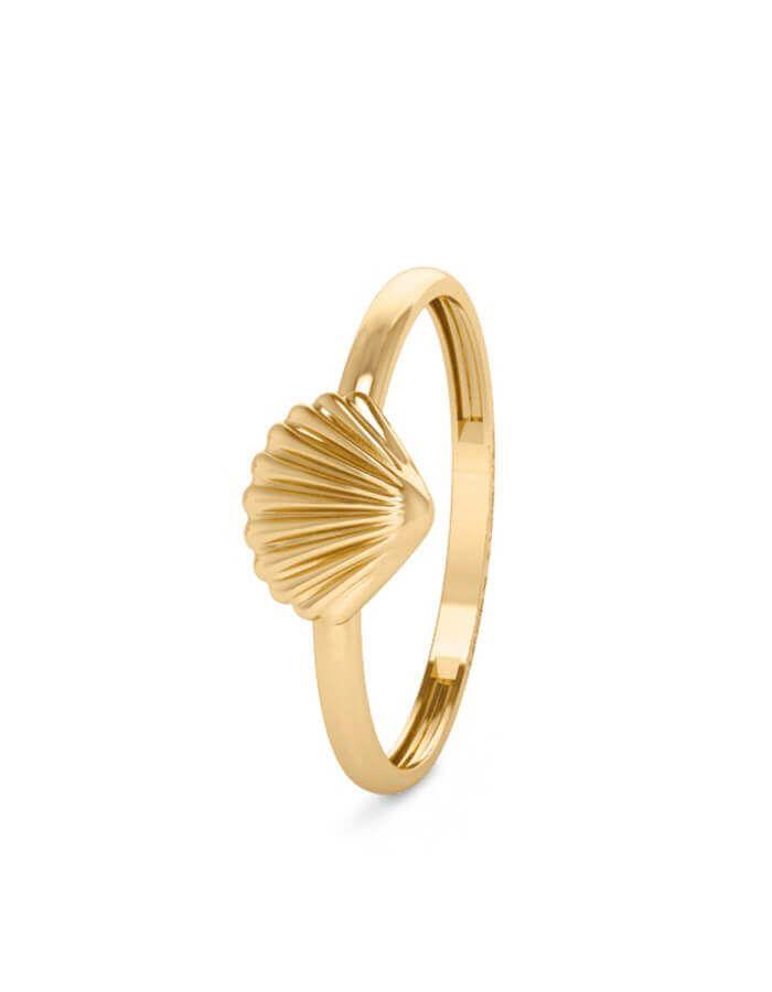 خاتم صدفة البحر الكلاسيكي، من الذهب الأصفر عيار 18 قيراط