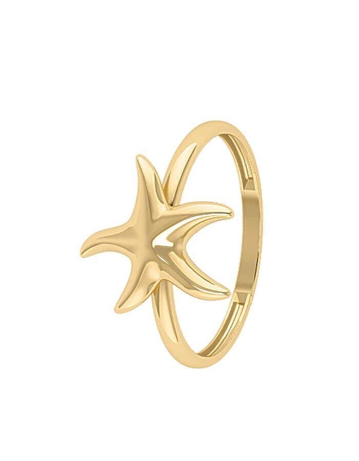 خاتم نجمة البحر الكلاسيكي، من الذهب الأصفر عيار 18 قيراط