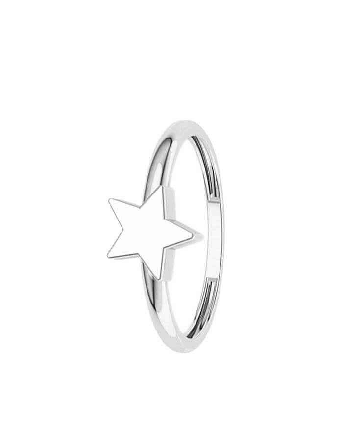 خاتم النجمة الساطعة من الذهب الأبيض عيار 18 قيراط