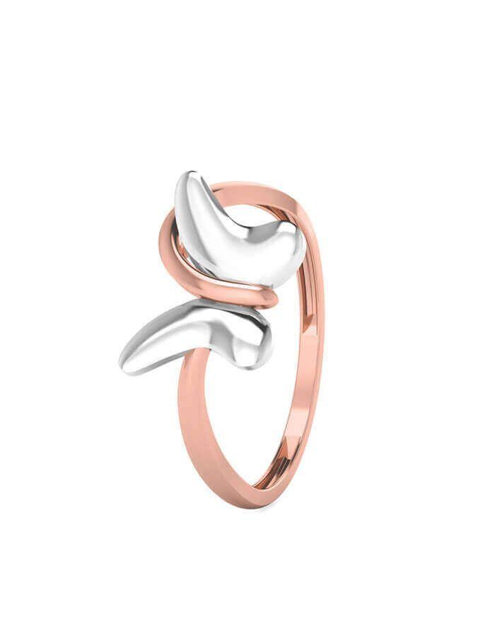 خاتم الفراشة البيضاء، من الذهب الوردي والأبيض عيار 18 قيراط