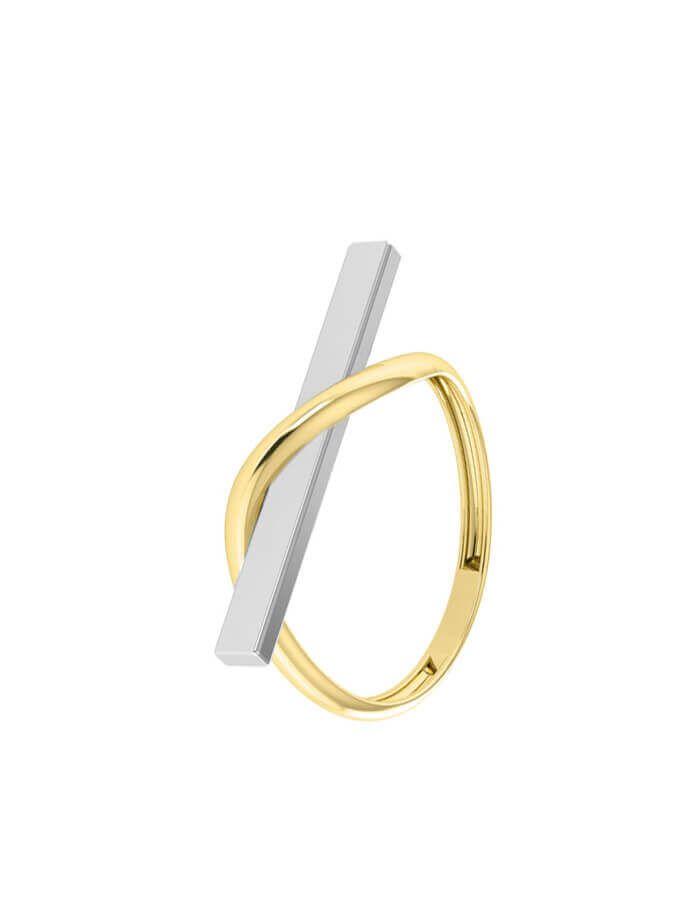 خاتم الهندسة الأنيق، من الذهب الأصفر والأبيض عيار 18 قيراط