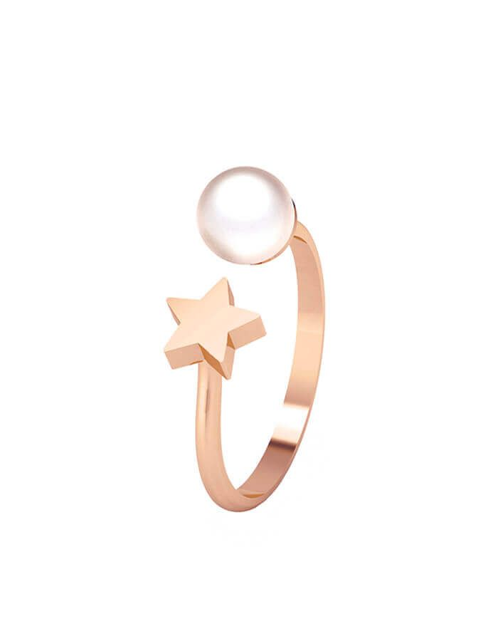 خاتم النجمة واللؤلؤة من الذهب  الوردي عيار 18 قيراط واللؤلؤ الأبيض