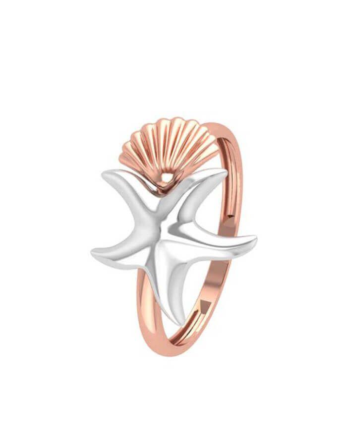 خاتم نجمة البحر  والصدفة الكلاسيكي، من الذهب الوردي عيار 18 قيراط