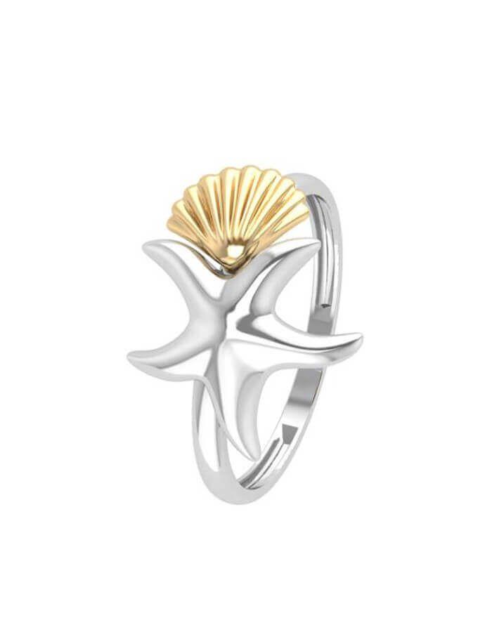 خاتم نجمة البحر  والصدفة الكلاسيكي، من الذهب الأبيض عيار 18 قيراط