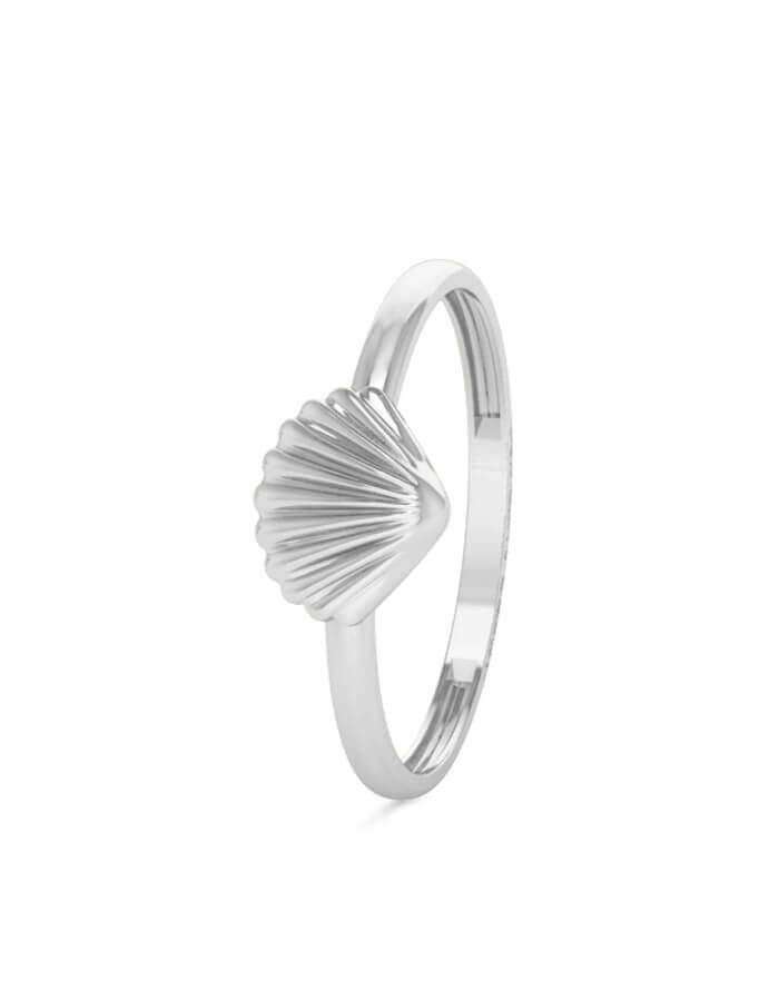 خاتم صدفة البحر الكلاسيكي، من الذهب الأبيض عيار 18 قيراط
