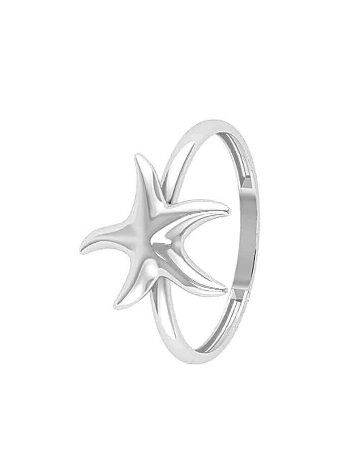 خاتم نجمة البحر الكلاسيكي، من الذهب الأبيض عيار 18 قيراط