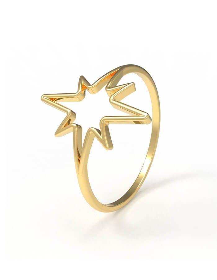 خاتم البرق من الذهب الأصفر عيار 18 قيراط