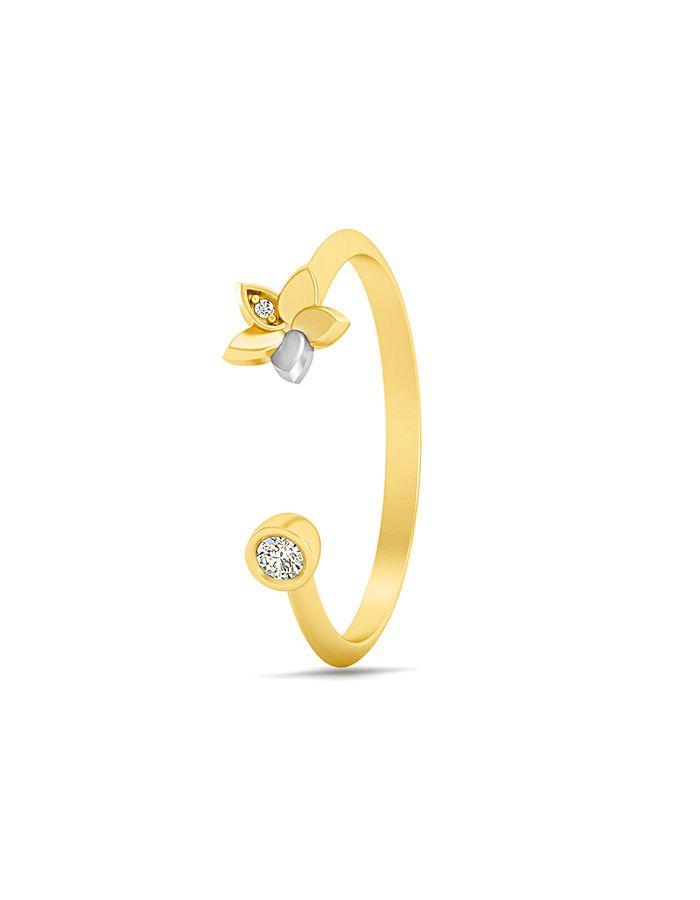 خاتم فلور الاماس من الذهب الأصفر والوردي عيار 18 قيراط
