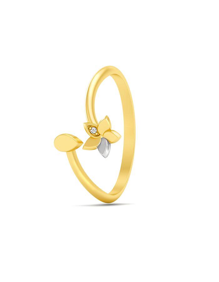 خاتم لمعان الزهور من الذهب الأصفر والوردي عيار 18 قيراط