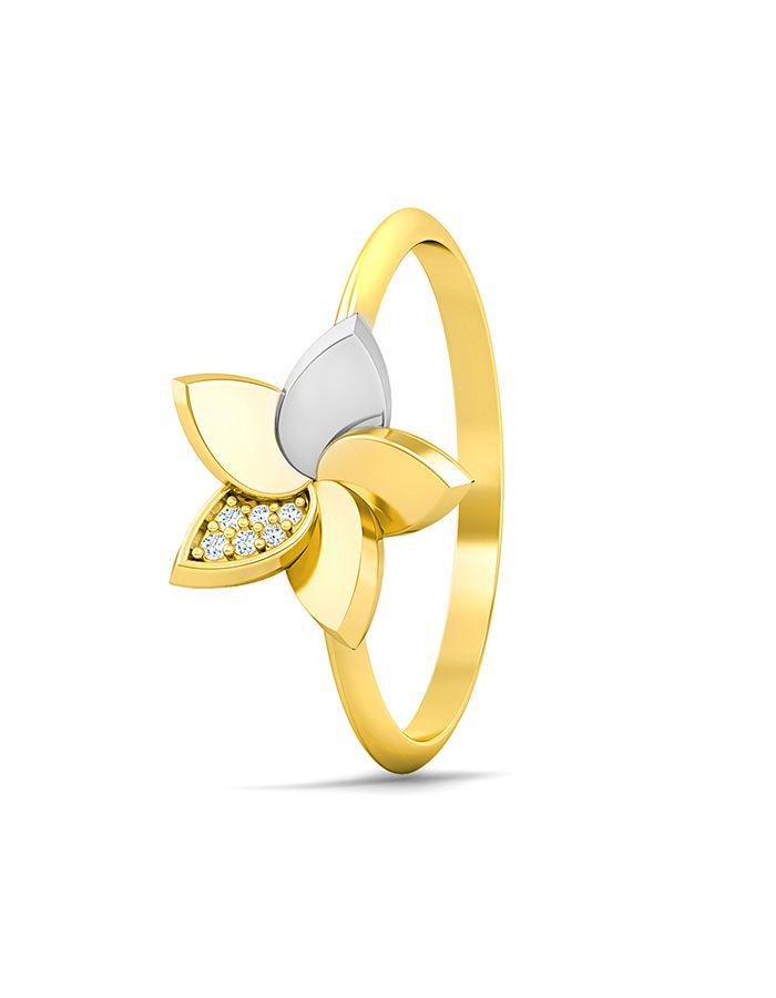 خاتم ملكة الزهور من الذهب الأصفر والوردي عيار 18 قيراط