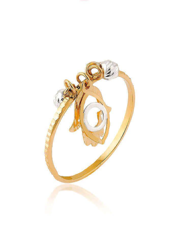 خاتم يد فاطمة، من الذهب الأبيض والأصفر عيار 18 قيراط
