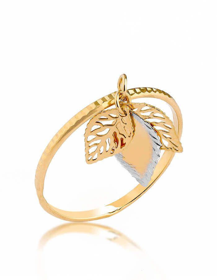 خاتم الأوراق المتساقطة، من الذهب الأصفر والأبيض عيار 18 قيراط