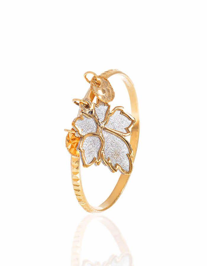 خاتم أوراق الشجر الجميلة، من الذهب الأصفر والأبيض عيار 18 قيراط