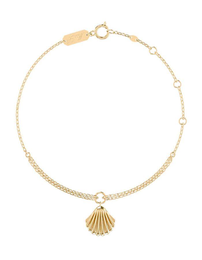 خلخال صدفة البحر الكلاسيكي، من الذهب الأصفر عيار 18 قيراط