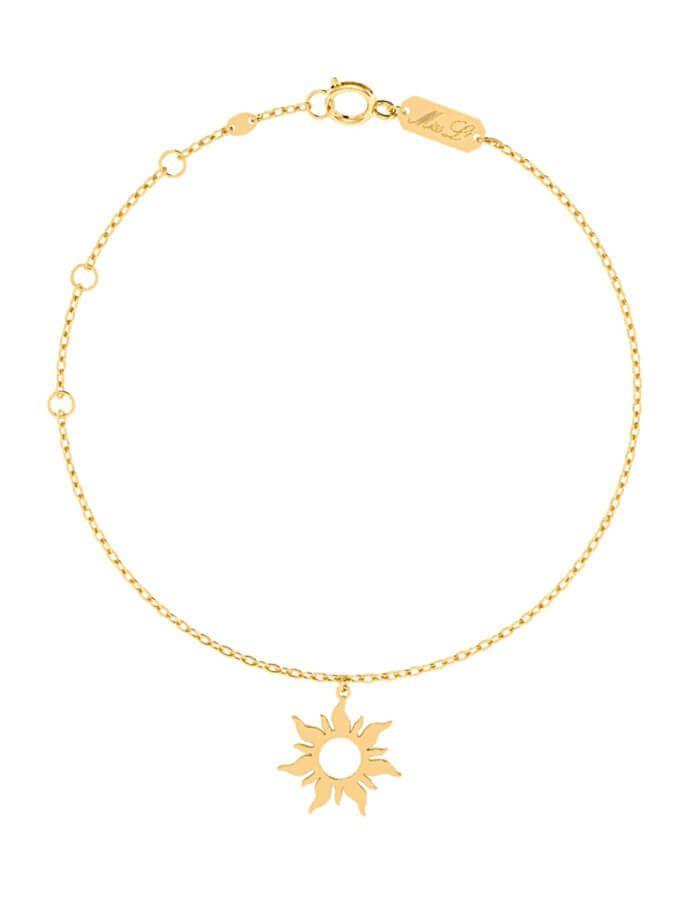 خلخال الشمس الصغيرة من الذهب الأصفر عيار 18 قيراط