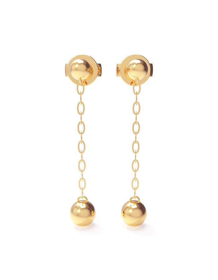 حلق الكرة المتمايل من الذهب الأصفر عيار 18 قيراط
