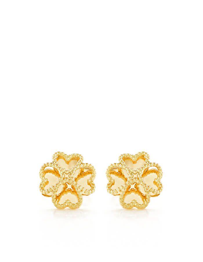 حلق الزهرة الجميلة من الذهب الأصفر عيار 18 قيراط