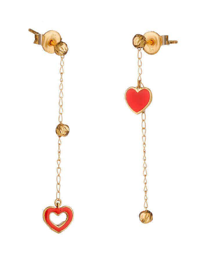 حلق فرح الحب، من الذهب الأصفر 18 قيراط والمينا الحمراء