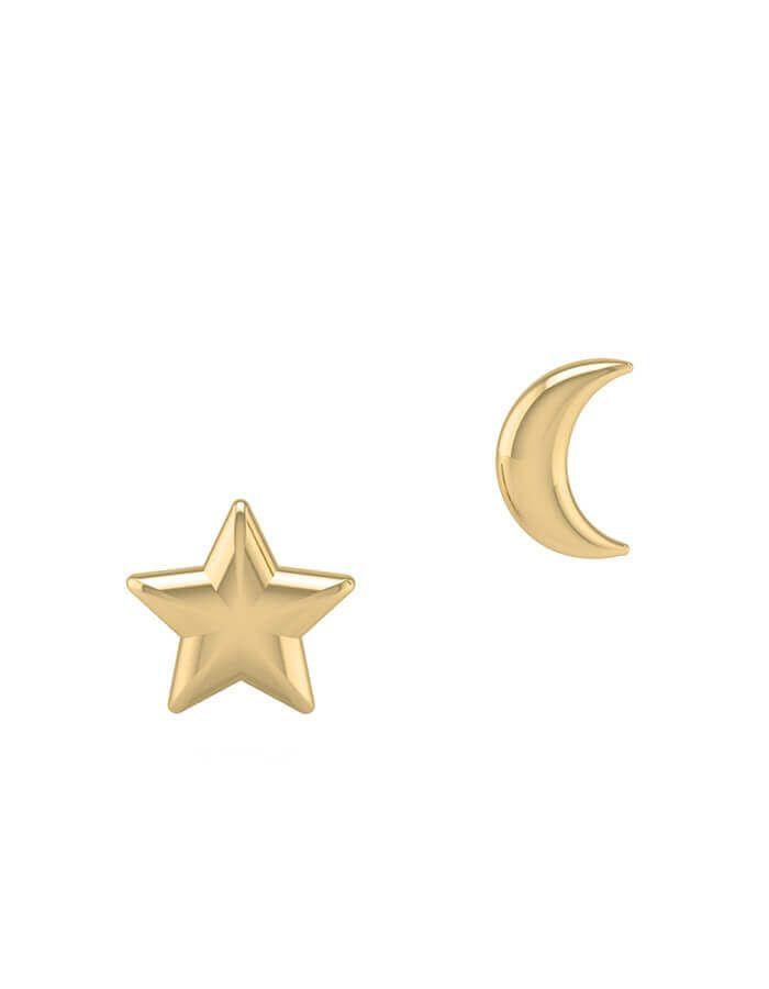 حلق القمر والنجمة، من الذهب الأصفر عيار 18 قيراط