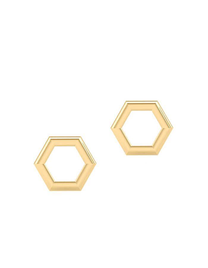 الحلق السداسي الزوايا، من الذهب الأصفر عيار 18 قيراط