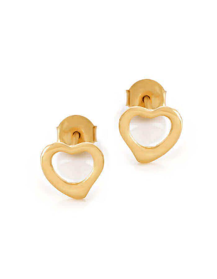 حلق القلب المرسوم، من الذهب الأصفر عيار 18 قيراط