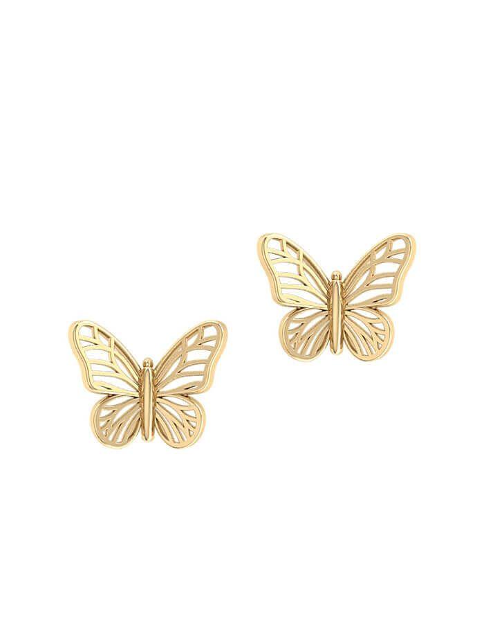 حلق الفراشة من الذهب الأصفر  عيار 18 قيراط