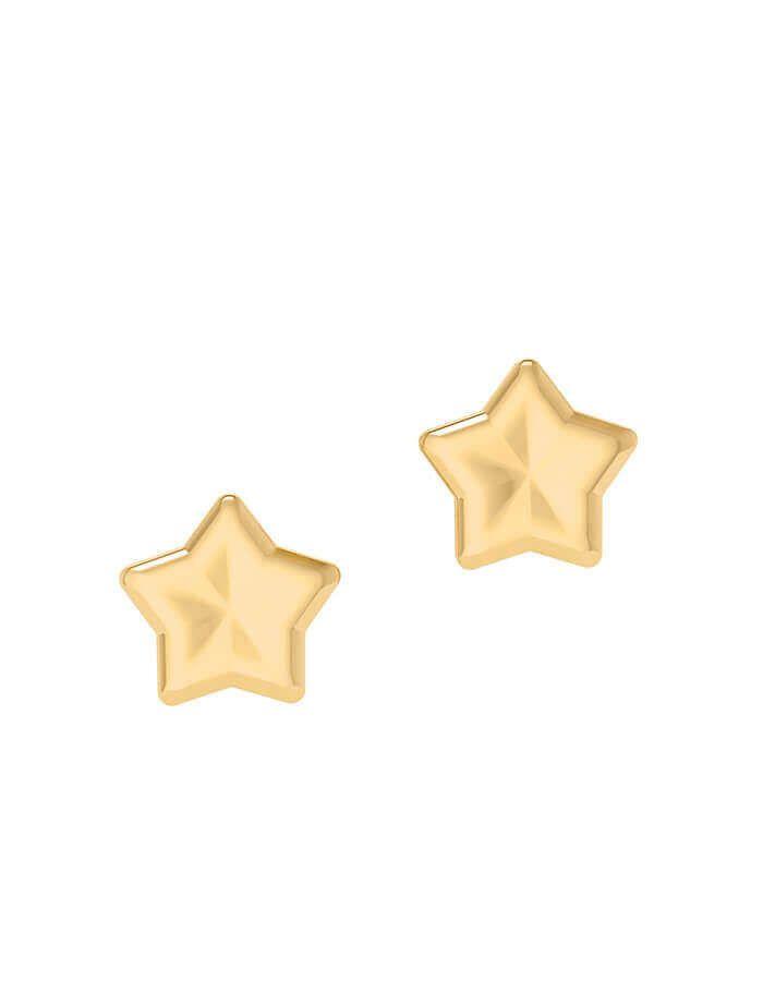 حلق النجمة المتلألئة، من الذهب الأصفر عيار 18 قيراط