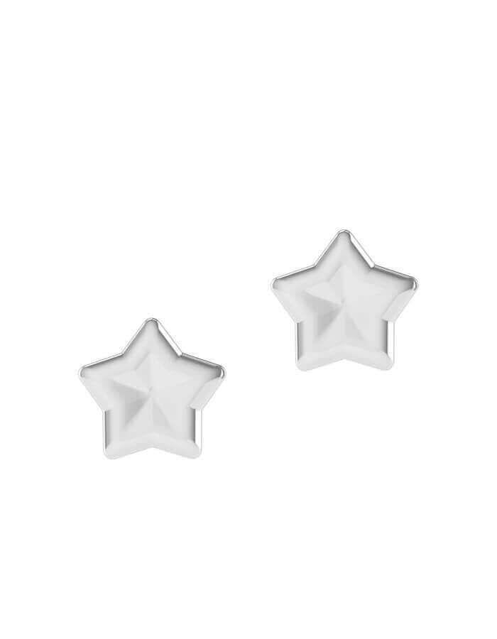 حلق النجمة الصغيرة، من الذهب الأبيض عيار 18 قيراط