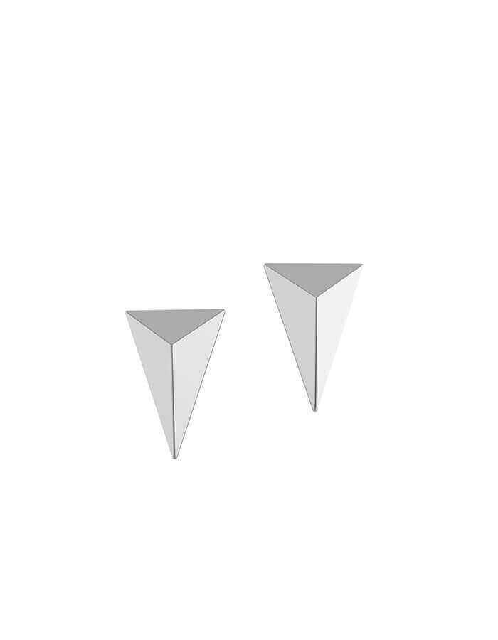 الحلق الهندسي بالأبعاد الثلاثة، من الذهب الأبيض عيار 18 قيراط