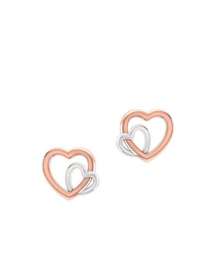 حلق القلبين المتعانقين، من الذهب الوردي عيار 18 قيراط