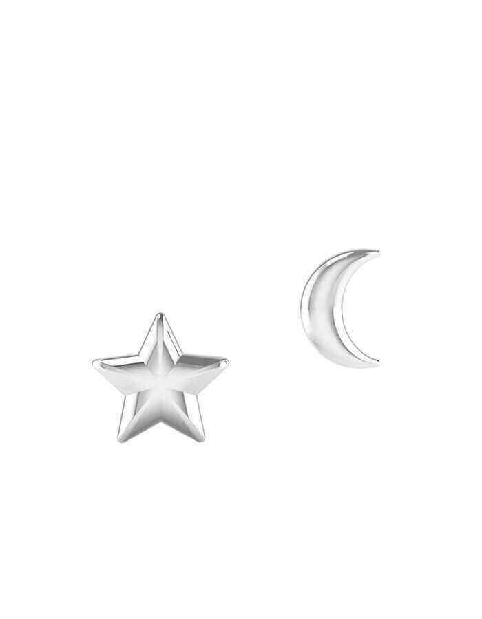 حلق القمر والنجمة، من الذهب الأبيض عيار 18 قيراط