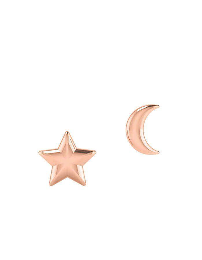 حلق القمر والنجمة، من الذهب الوردي عيار 18 قيراط