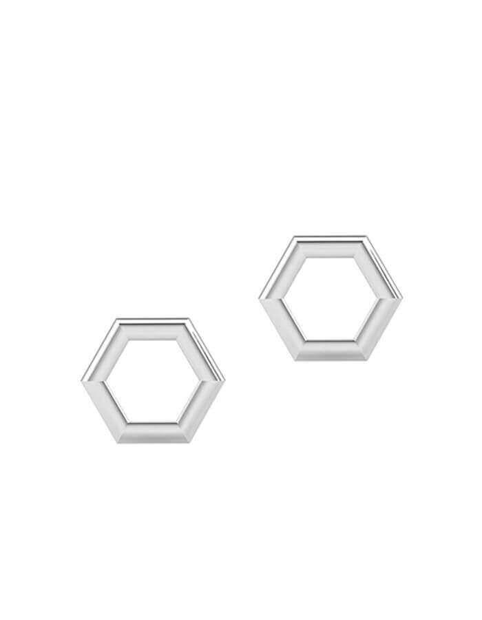 الحلق السداسي الزوايا، من الذهب الأبيض عيار 18 قيراط