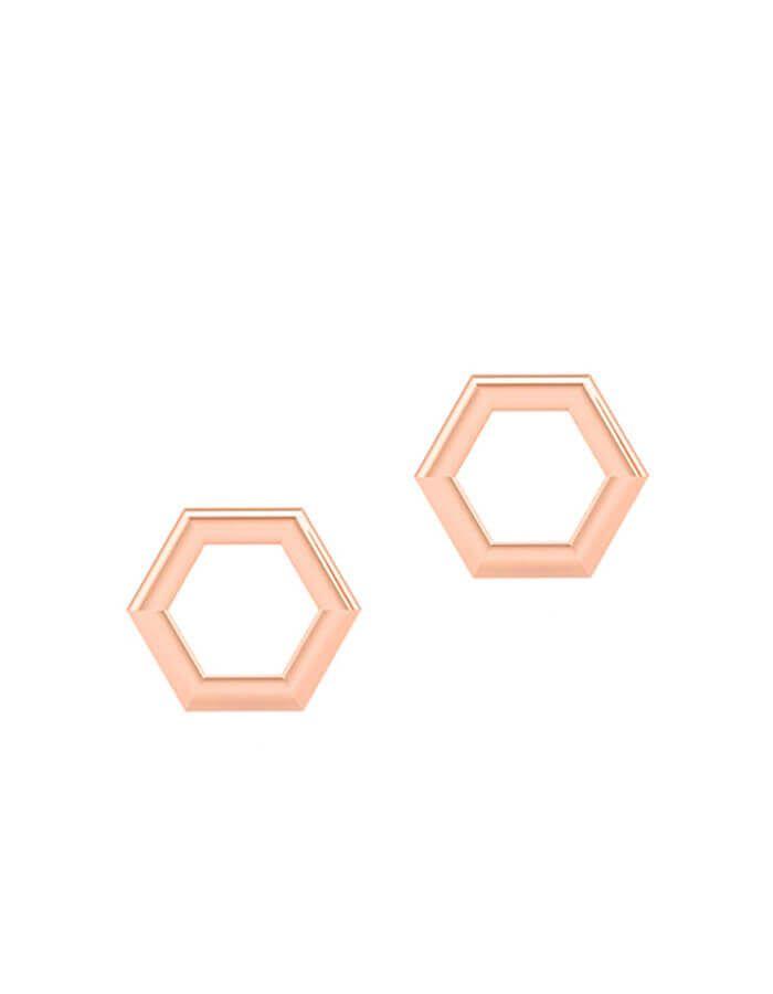 الحلق السداسي الزوايا، من الذهب الوردي عيار 18 قيراط