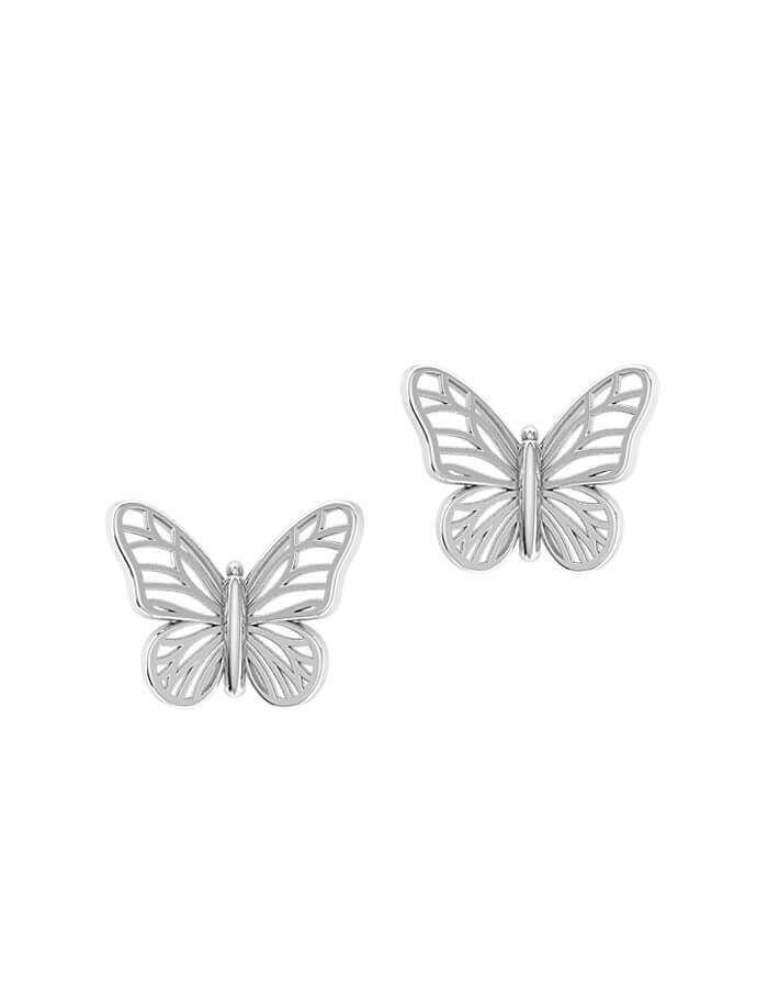 حلق الفراشة من الذهب الأبيض  عيار 18 قيراط