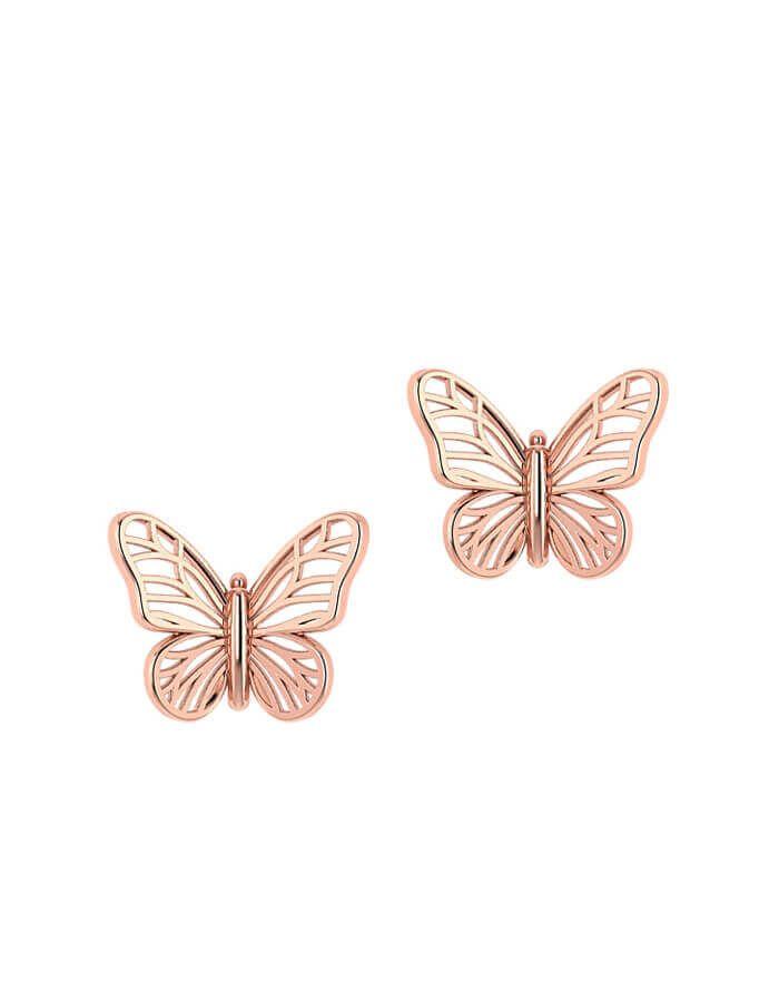 حلق الفراشة من الذهب الوردي  عيار 18 قيراط