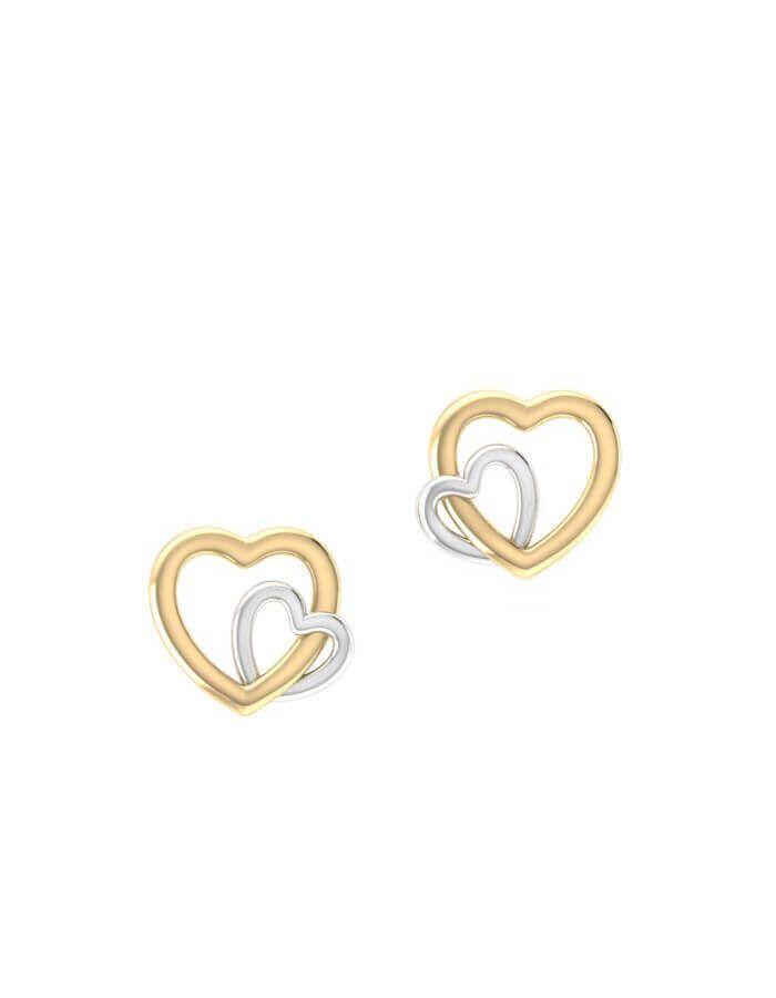 حلق القلبين المتعانقين، من الذهب الأصفر عيار 18 قيراط