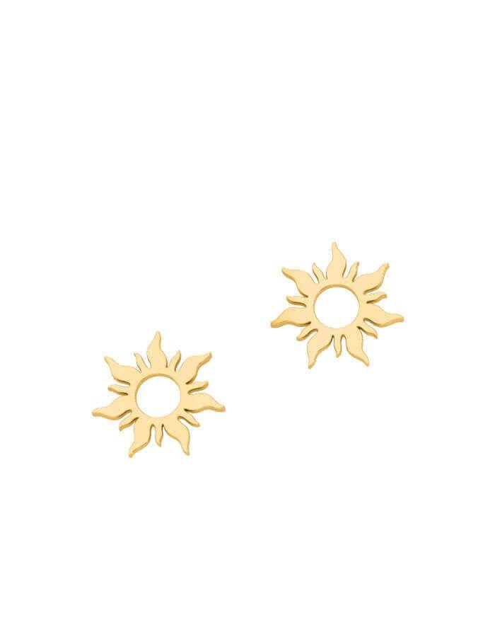 حلق الشمس الصغيرة من الذهب الأصفر عيار 18 قيراط