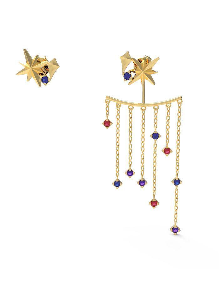 حلق النجمات البراقة، من الذهب الأصفر عيار 18 قيراط والأحجار الملونة من الجمشت، والصفير والياقوت